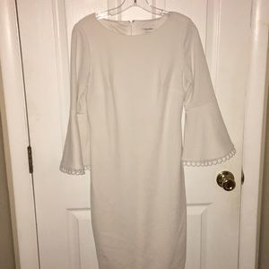 White dress with Flare Sleeves